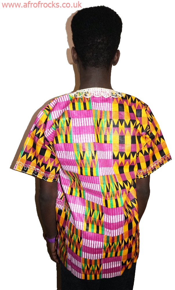Pinkish kente print embroidered shirt