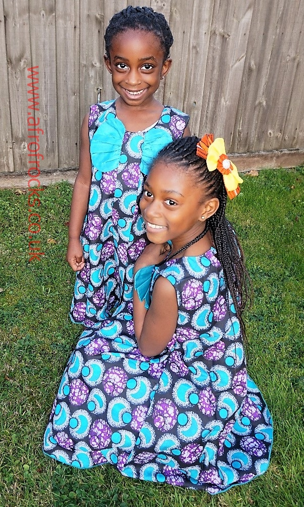 Turquoise wings African print girls dress