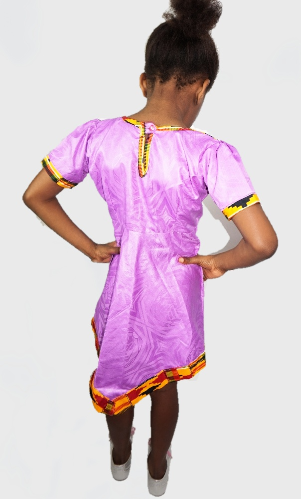 Girls kente and purple handkerchief style dress