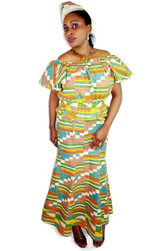 Modern kente print 3 piece skirt set