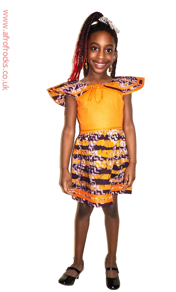 Orange and batik combi dress