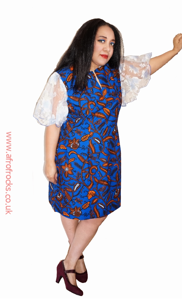 Leafy blue African wax and organza combi dress