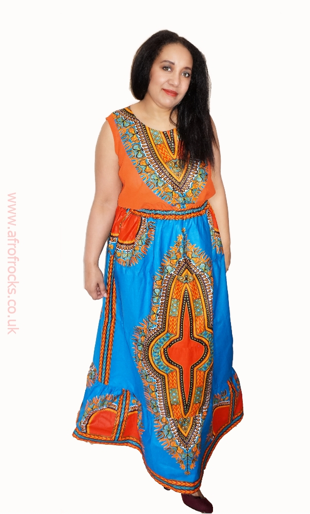 Dashiki print and chiffon maxi dress