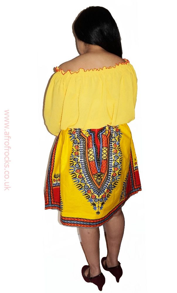 Yellow dashiki and chiffon combi dress