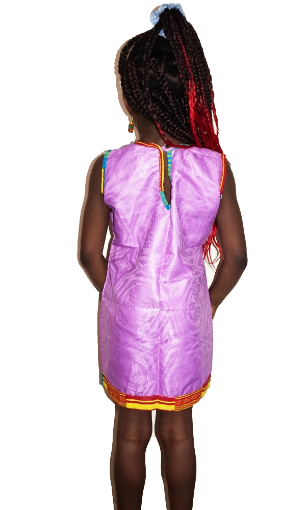 Girls purple and kente combi dress