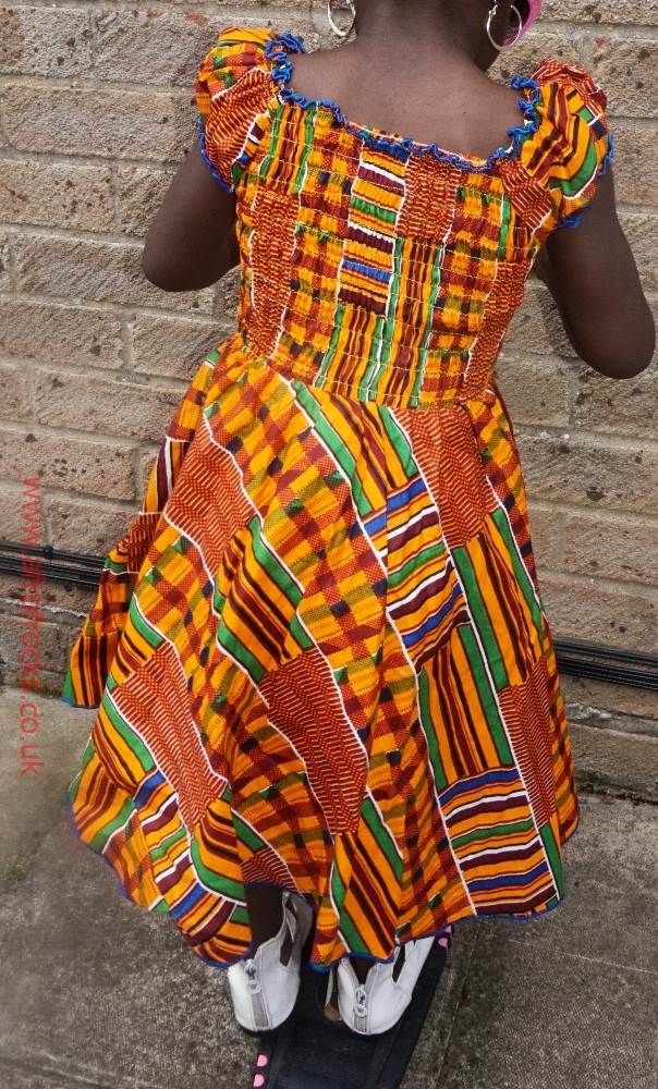Girls kente shirred dress