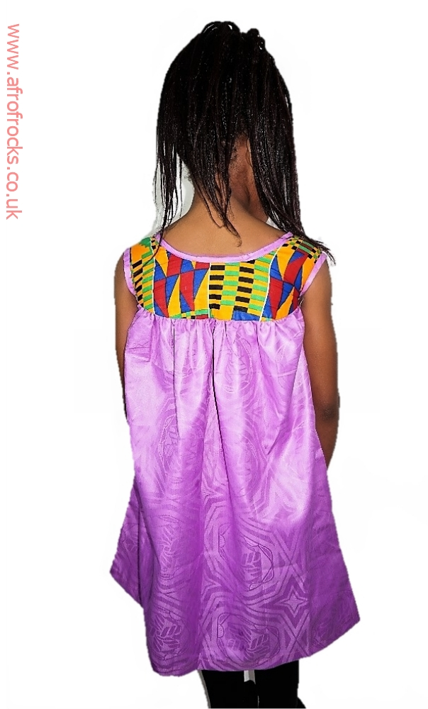 Purple and kente free dress