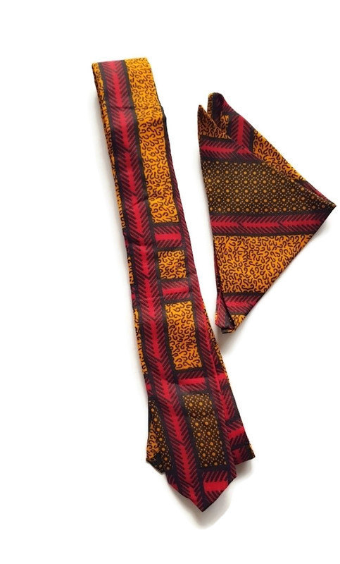 African print neck tie and pocket square set