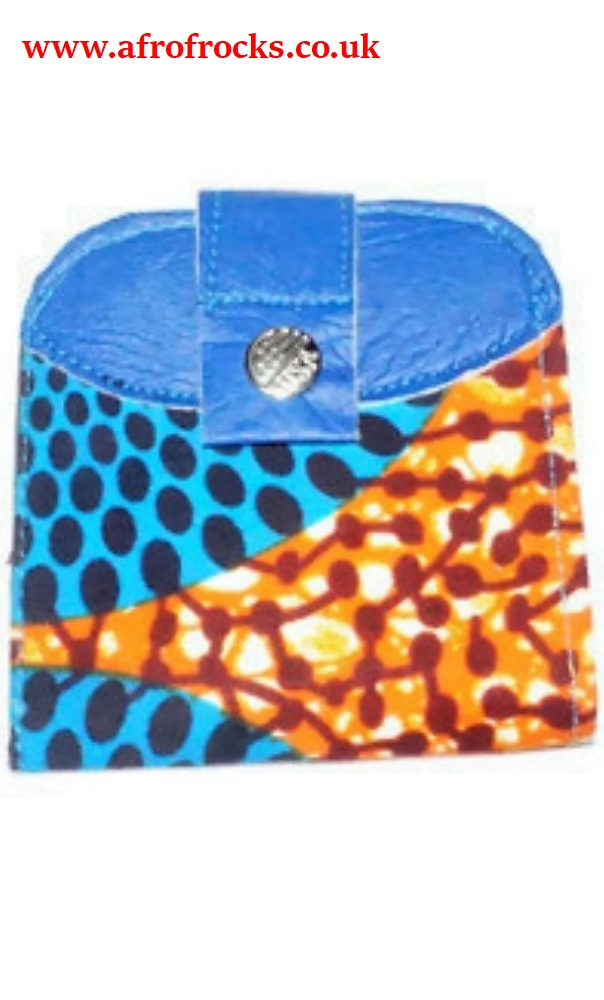 Men's leather and African print wallet