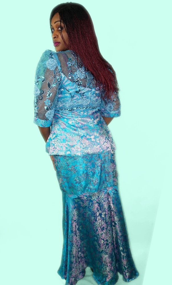 Turquoise and sequined lace skirt and top set