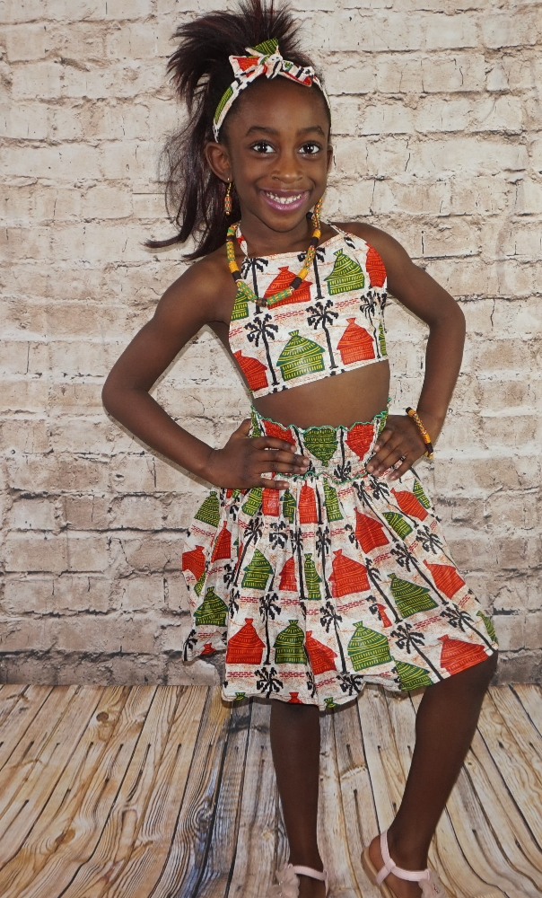 Girls kente African print 3 piece beachwear summer wear