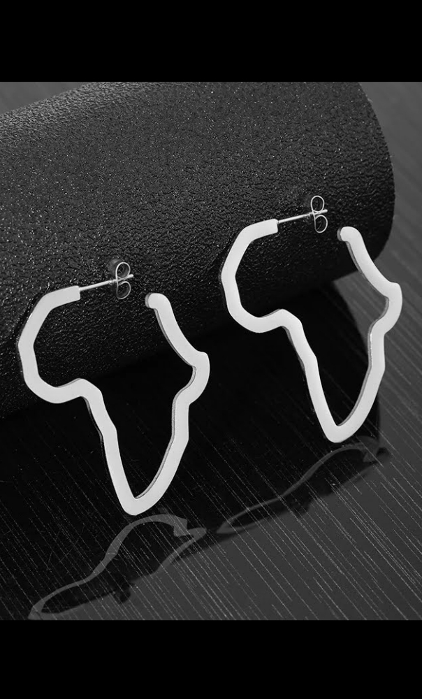 Medium African map earrings