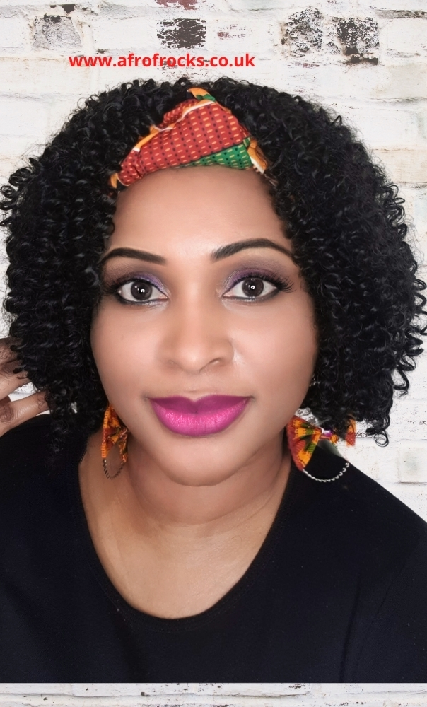 Kente print Headband wrap synthetic curly wig