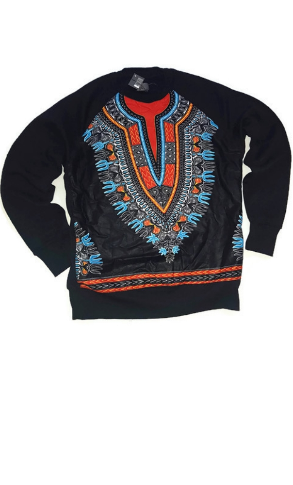 Unisex Black with dashiki African print combination jumper