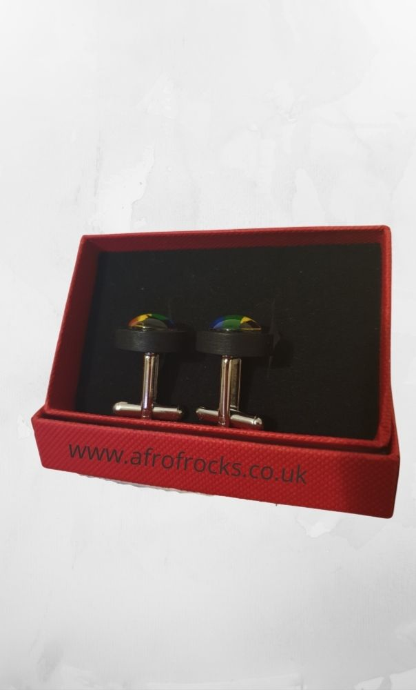 African Pride Rainbow Fist Wooden Cufflinks