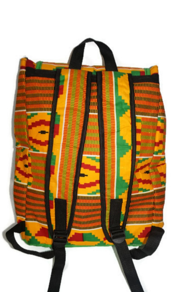 Faux leather and kente print backpack