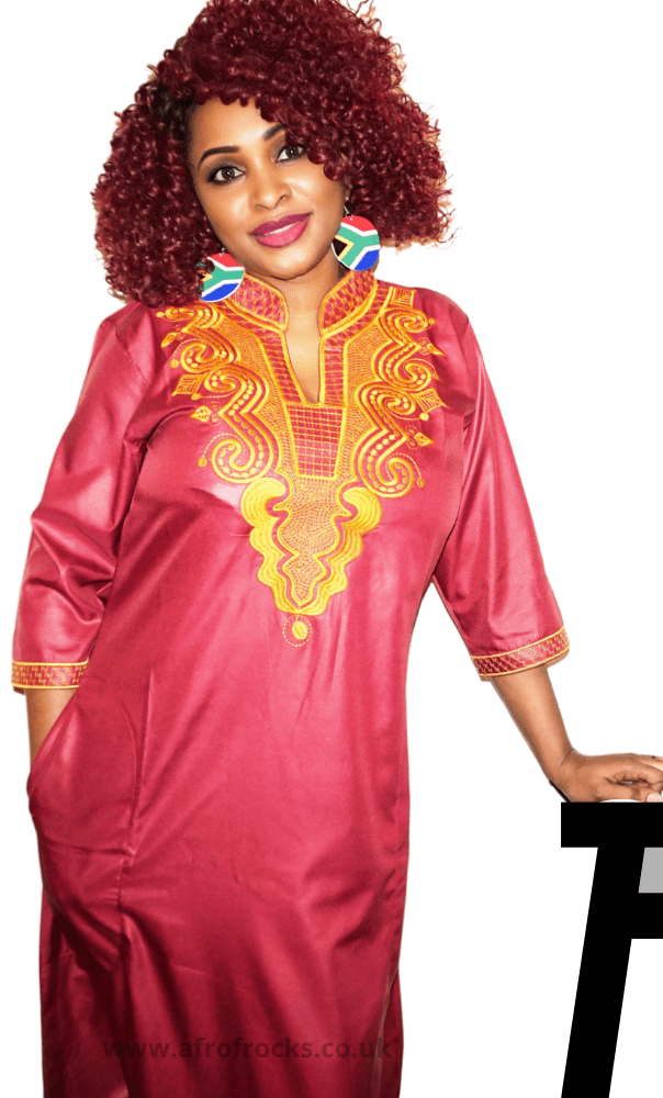 African Style Gold Embroidered Kaftan