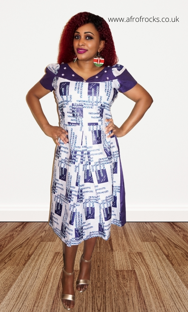 Violet and White African Print Button Dress