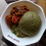 Oat spinach swallow with vegetable sauce and Okro