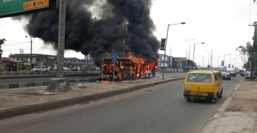 Terrifying! A BRT Bus Goes Up In Flames While Carrying Passengers In Lagos