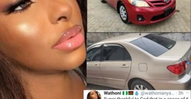 Ex-BBNaija Housemate Wathoni Buys Her Mom and Dad a Car Each