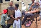 Ikorodu Bois Give Actor, Bolanle Ninalowo A Ride In Wheelbarrow In His Hometown
