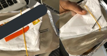 Nigerian Man Shares Photo of Small Chops He Bought With 2-inch Nail instead of toothpick