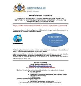 Gauteng Department of Education Recruitment for Unemployed Educators