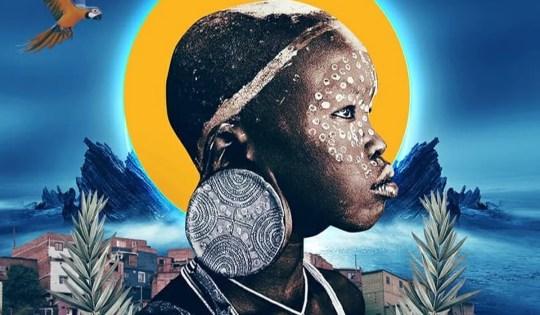Colagem afrofuturista de um menino negro de um povo africano na favela, feita pelo perfil Colafro.
