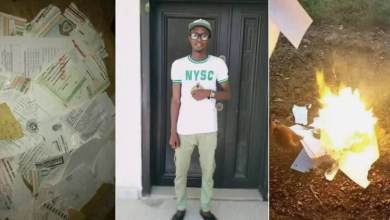 Photo of Frustrated graduate burns his certificates after failing to secure a job