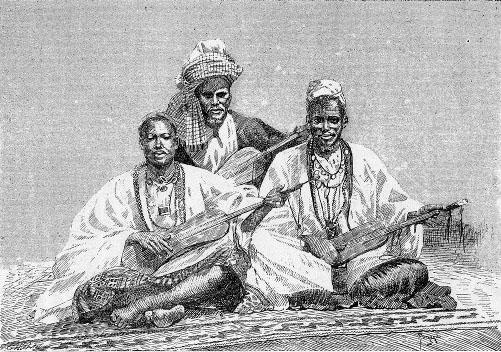 Griots de Sambala, rey de Médina (Pueblo Fula, Mali), 1890 (Wikimedia)