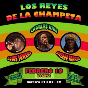 Los Reyes de La Champeta : el 19 de Febrero Louis Towers, Viviano Torres y Charles King estarán tocando juntos en el Auditorio Lumiere.