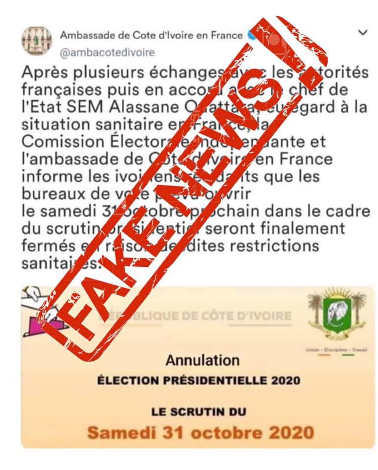 Présidentielle 2020 - Fake News: L'ambassade de la Côte d'Ivoire en France réagit sur l'annulation du scrutin en France