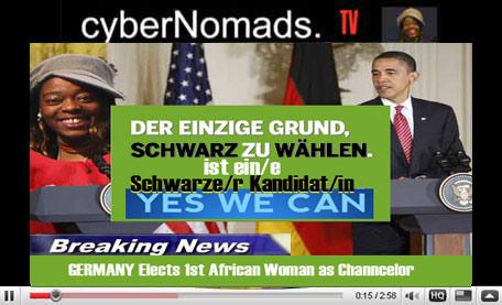 AFRO DEUTSCHE Kanzlerin Schwarze Afro German Afro Deutsche Black German AFRO DEUTSCHE KANDIDATUR für das Kanzleramt. Obama gratuliert der gebürtigen Nigerianerin zur Wahl. Hoffnung auch in BRD