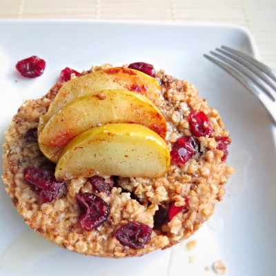 Baked Cranberry Cinnamon Oatmeal with Apples and Raw Honey
