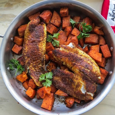 Blackened Tilapia w/ Roasted Sweet Potatoes