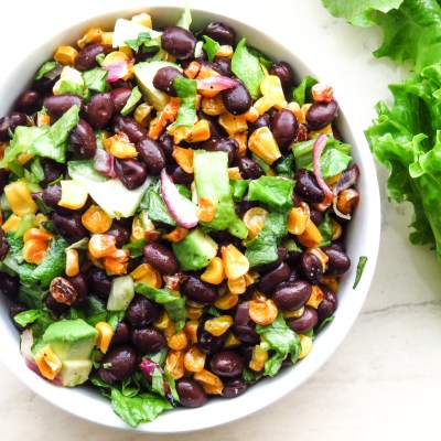 Roasted Sweet corn and black bean salad