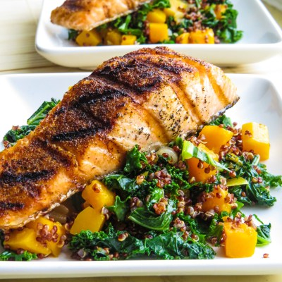 Pan roasted kale and  butternut squash salad w/ red quinoa