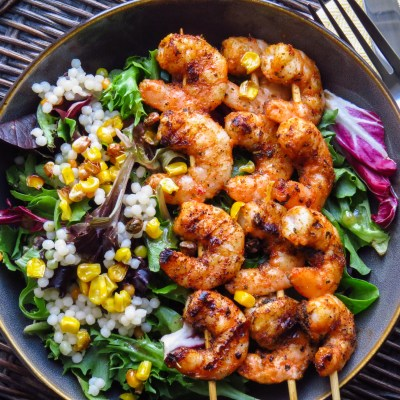 Simple Shrimp Suya Salad w/ Serano honey vinaigrette