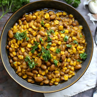 (Cornchaff ) Sweet corn and pinto beans porridge