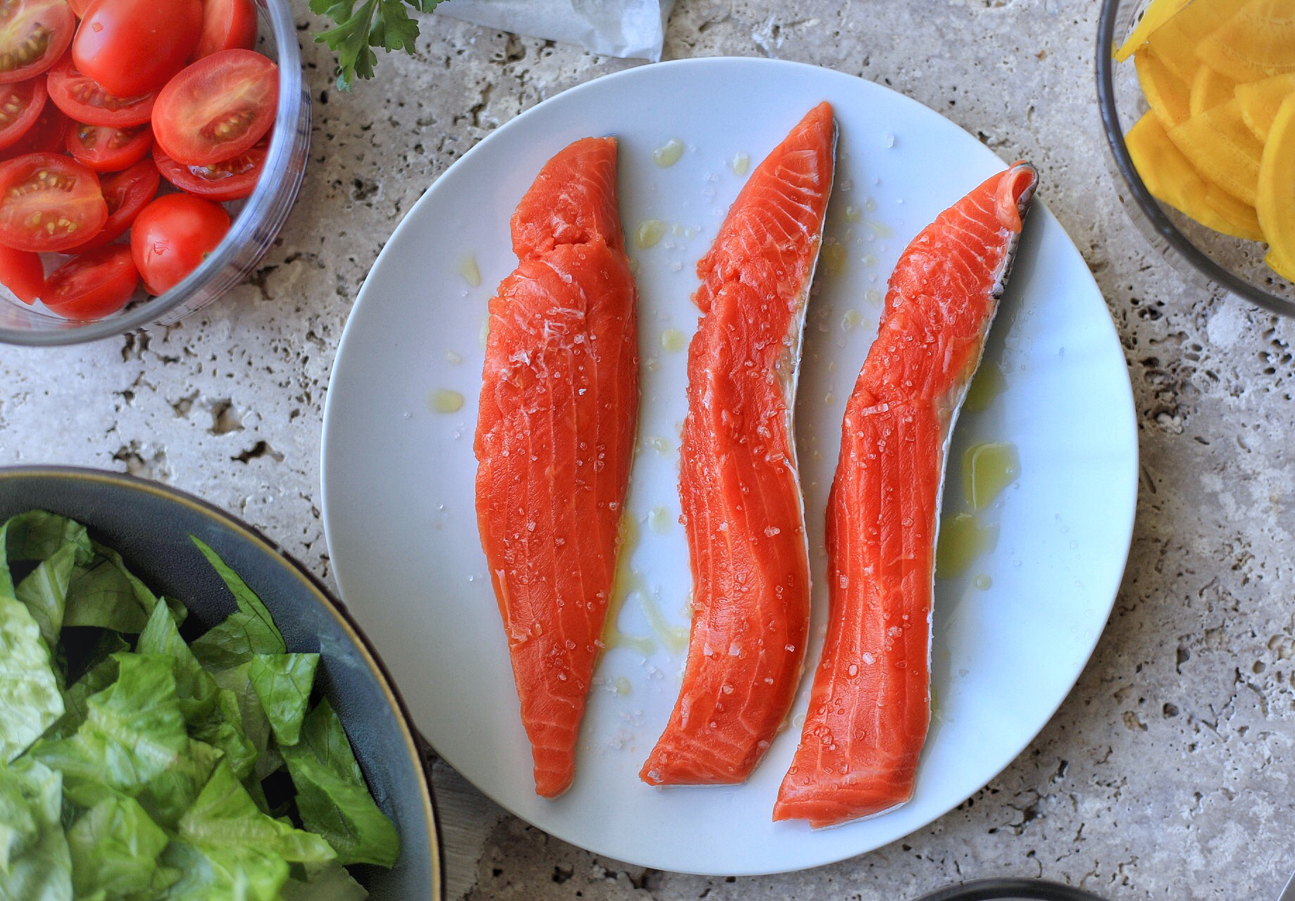 Grilled Sockeye salmon salad