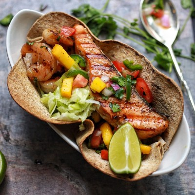 Salmon Shrimp taco boat