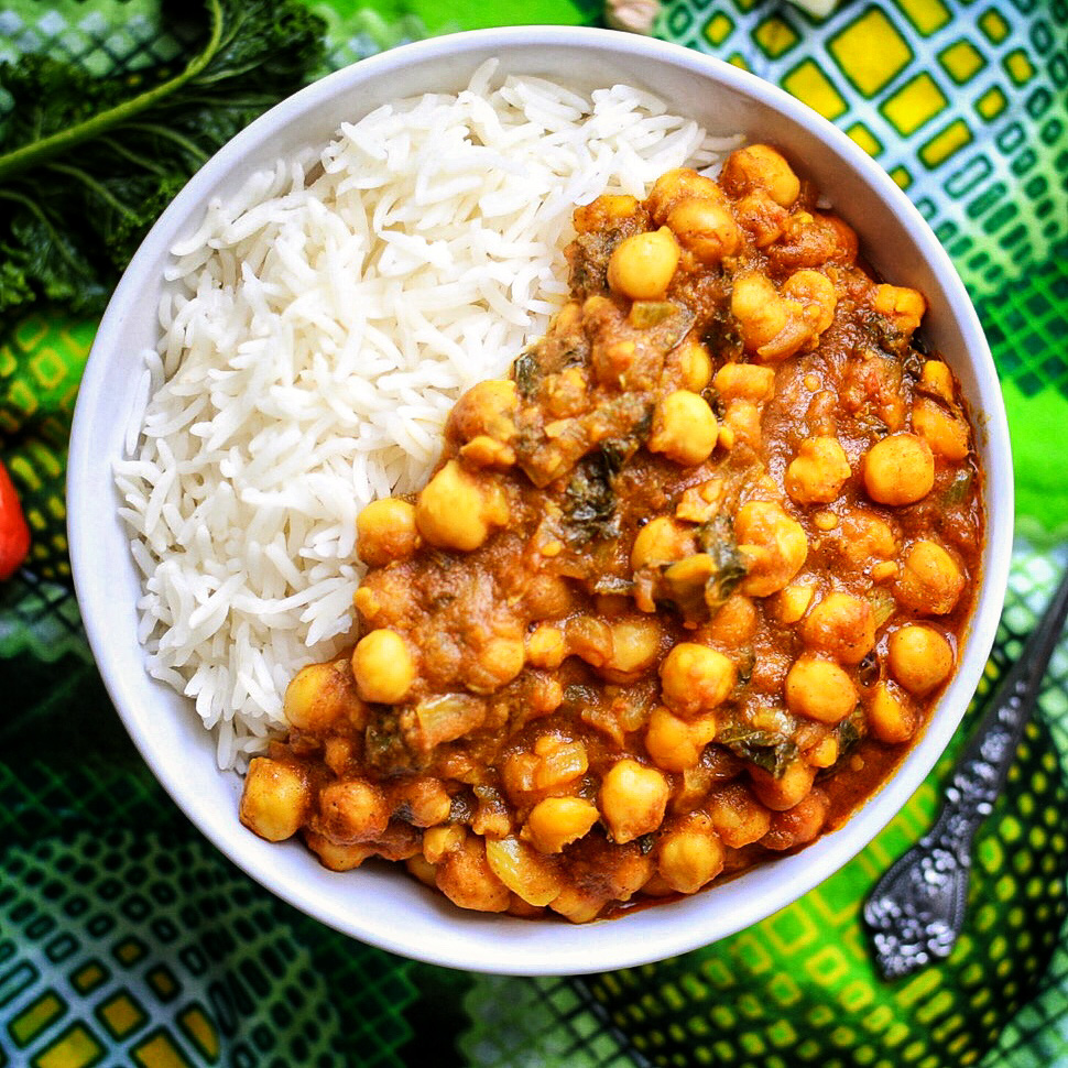 Spicy Caribbean chickpea curry served with basmati rice