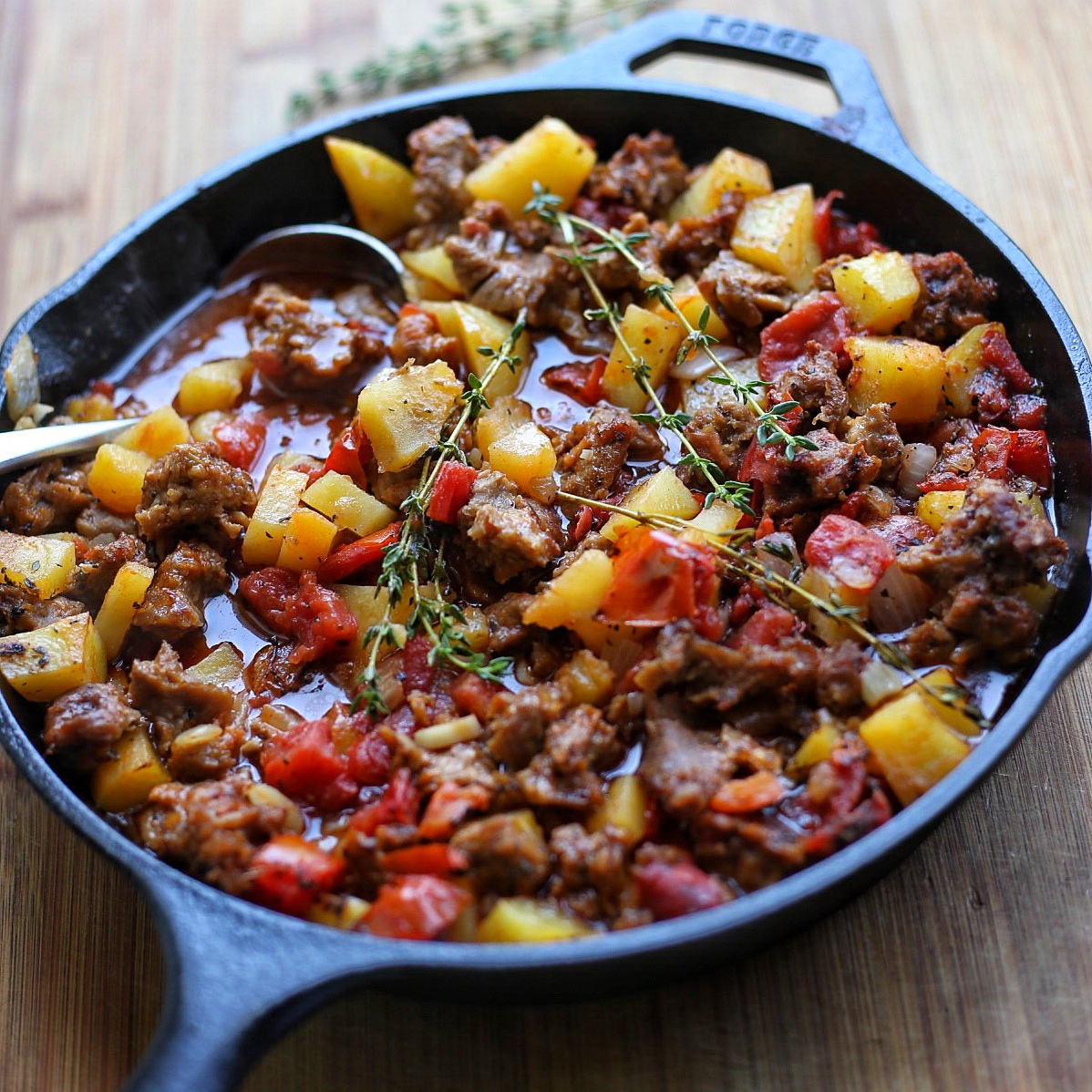 vegan meat and potatoes casserole