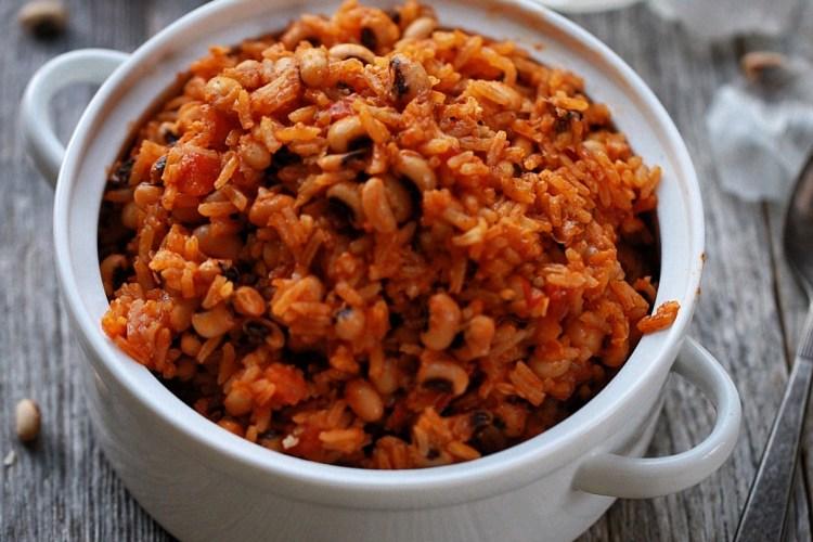Jollof Jasmine rice and black eyed peas