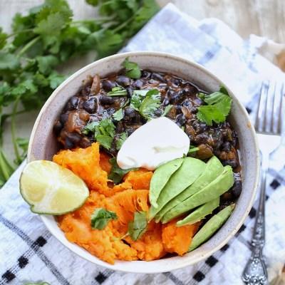 Cuban Black beans and baked sweet potato bowl