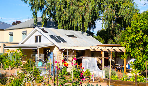 Fern Ave Community Garden — the comfortable solar powered, strawbale community building.