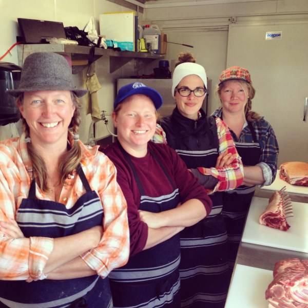 Tammi with her 'Meat Grrls' at the Jonai Farms on-farm butchery and boning room