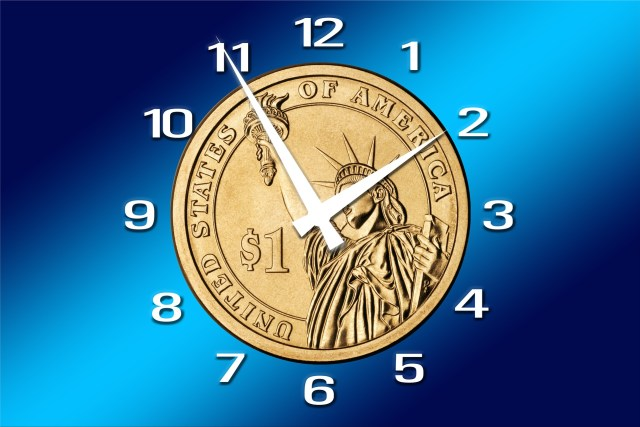 A golden dollar made to look like a clock