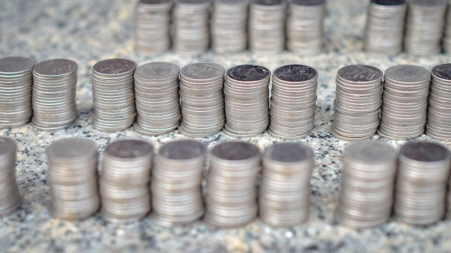 Several stacks of dimes